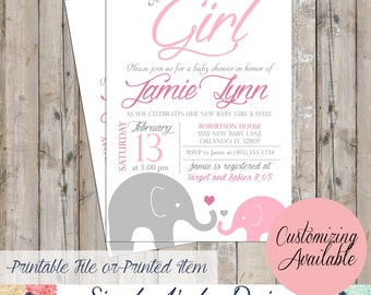 It's a Girl Elephant Baby Shower Invitation