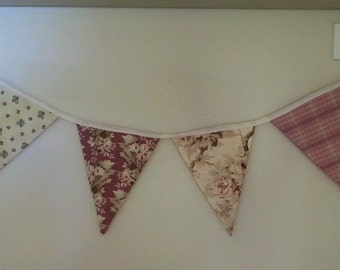 Shabby Chic Country Bunting Floral, Birds and Check Fabric Flags Home Decor