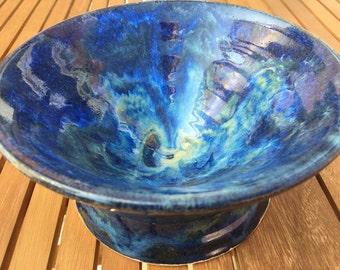 Deep Ceramic Serving Bowl / Blue Pottery Bowl / Handmade Serving Bowl/ Handmade Pottery/ Colourful Bowl/ Ornamental Bowl/ Tableware