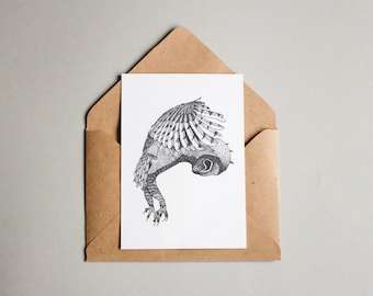 Owl print A6 wall art, black and white, dotwork, interior wall art, nature print