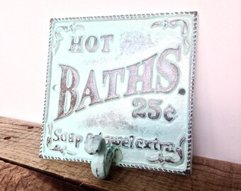 Aqua Blue Bath Sign Bathroom Sign Bathroom Wall Art French Country Shabby