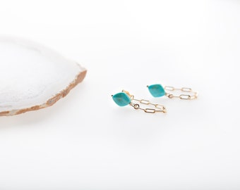 Faceted Blue Turquoise chain stud earrings, gold chain studs