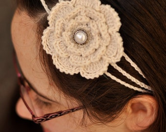 Crochet Flower Headband - Cream - One size fits all