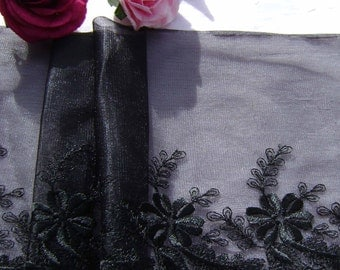 2.25 metres Lovely Black Embroidered Lace.