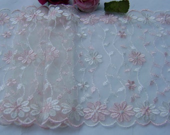 1.85 metres Pretty White and soft Pink Embroidered Tulle Lace