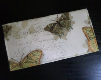 Butterflies & Botany Fabric Checkbook Cover, NEW Handmade FREE SHIPPING