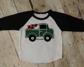 Personalized Christmas, toddler boy, Christmas raglan, raglan, baseball tee, trendy boy clothes, pick up truck shirt, hipster boy clothing