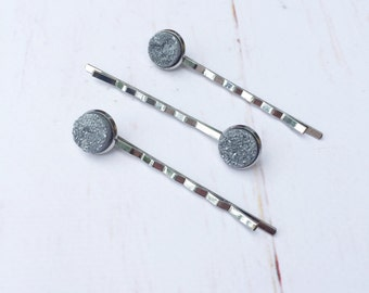 Bobby Pins, hair accessories, bridal and formal, druzy stone, silver.