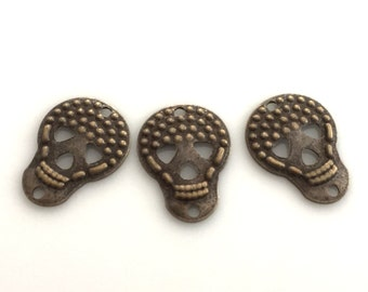 50 pcs 10x16 mm  Skull Antique brass findings ,charms,pendant