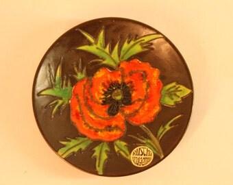 Ruscha wall plate poppy motif