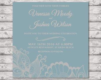 Beach Wedding Invitation - Print at Home File or Printed Cards - At the Seaside Retro Wedding Invitation - Personalised Blue Wedding Invite