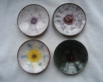 4 MODERNIST ENAMEL PIN trays dishes ring dishes