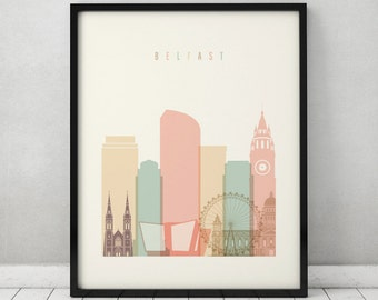 Belfast print, Poster, Wall art, Ireland cityscape, Belfast skyline, City poster, Typography art, Home Decor, Fine Art Prints ArtFilesVicky