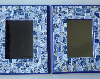 Pair Delft Blue Vintage China Mosaic Mirrors