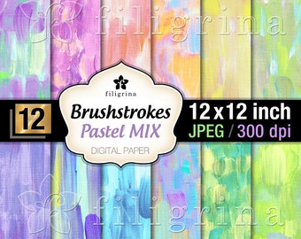 PASTEL BRUSH strokes digital paper. Creative art canvas. Painted artistic textures 12x12 inches 12 pcs printable backgrounds. Commercial use
