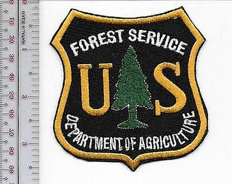 Hot Shot Wildland Fire Crew USFS United States Forest Service Gold on Black 3.5 inches