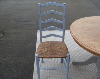 """Pretty, Vintage Ladder Back Chair, with Lovely Rush Seat Painted in """"Louis Blue"""" Annie Sloan Chalk Paint."""