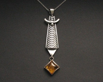Lamat of Amber - silver pendant with amber, unique, handmade, artistic jewellery, silver jewelry, fiann