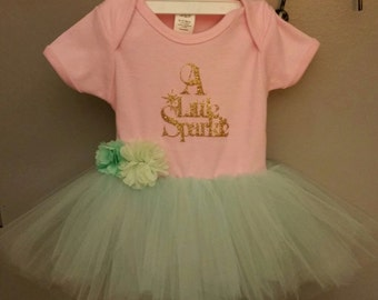 Mint & Pink 6-12 Month Onesie Tutu--and Matching Necklace-Baby girl tutu--A Little Sparkle Onesie