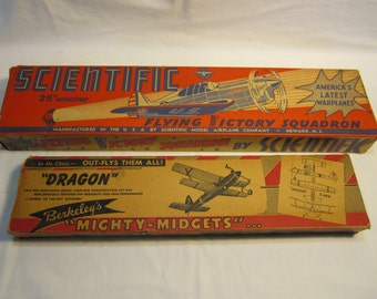 Vintage 1940s-1950s Model Airplane Boxes For Flying Wood Airplane Kit