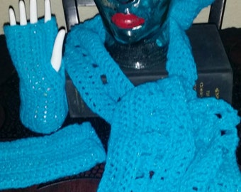 Blue & Mettallic Hand Crocheted 3 Piece Slouchy Beret Hat, Scarf, Fingerless Gloves Set