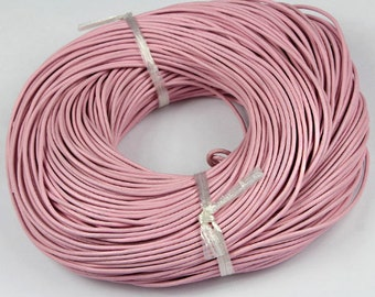10M = 11 yards Pink leather cord Real leather jewelry cord Necklace cord Craft cord 2mm thick Round necklace cord Pink leather necklace cord