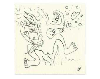 Special: Imaginative original 15/15 cm pen drawing