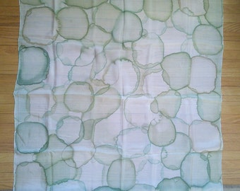 Green Bubbles Silk Artisan scarf // hand painted green silk scarf