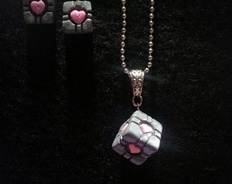 Companion Cube Inspired Necklace and Earrings