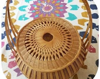 Vintage Wicker Rattan Boho Basket with Handle