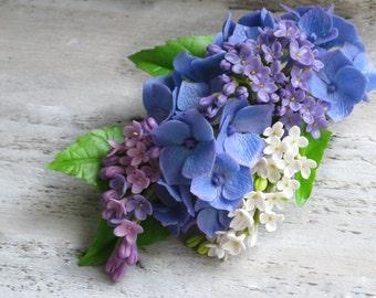 Blue barrette Flower hair clip Floral hair accessory Blue wedding hair piece Lilac wedding hair clip Nature hair clip Hydrangea hair flower