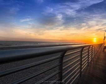 Sunset on the boardwalk, fine art print, long exposure, night shot, New York, Beach, Long Beach, Sunset photo
