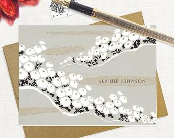 personalized stationery set - SOPHIE DESIGNER FLOWER - set of 8 folded note cards - stationary - floral - botanical
