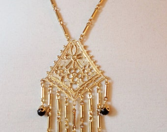 Gold Tone Stunning Detailed Tassel Pendant Necklace w/Glass Beads.