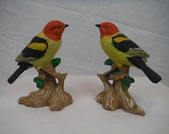Vintage *SET OF 2* Porcelain Western Tanager Ceramic Bird On Branches Figurines Antique