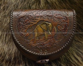 """Waist bag """"The Elephant"""" in boho style, brown leather bag, folklore style bag"""