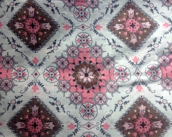 """1940's cotton fabric with pink, brown, white and black pattern, total width-70"""" x 2 yards 1ft 4"""" total length"""