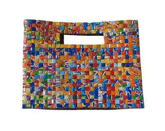 Ladies Briefcase style manufactured bag from recycled juice boxes