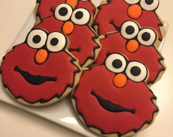 ELMO Cookies Decorated Sugar Cookie Birthday Party Favors Sesame Street