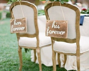 Hers and His Wedding Signs