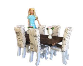 MiniMolly Dollhouse Furniture, Barbie Size Dining Table, 6 chairs , French Style Upholstered