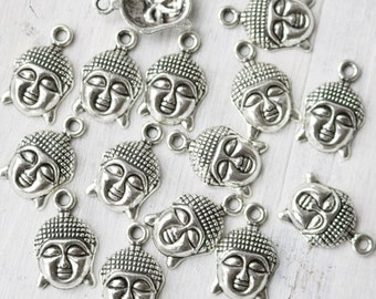 set of 10, buddha charms, buddha head, yoga charms, hindu charms, antique silver, metal charms,