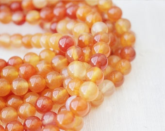 Red Orange Carnelian Beads 8mm Round Full Strand AA Quality USA Seller Natural Gemstone
