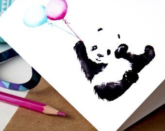 Cute Panda With Baloons – Happy Birthday Card