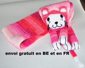 Scarf pink cat, animal knitted scarf hand, wool and acrylic for child