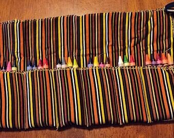 Multi Color Striped Crayon Roll 24 Crayola Crayons