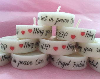 ask to create your order Funeral Personalised Remembrance & Memorial candle favours. light in memory