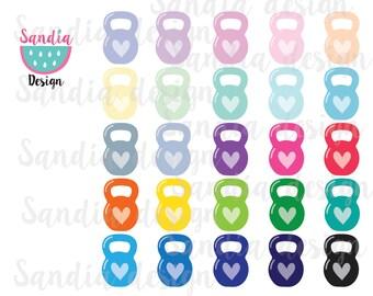 25 Kettlebell Heart clip art images. Imágenes Prediseñadas. Para uso personal y pequeños negocios.