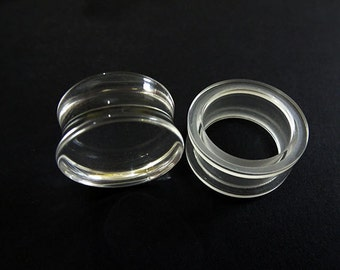 In Sale!! Clear Earring Plug Solid Hollow 20mm