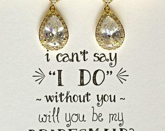 Bridesmaid Set of 4 Gold Crystal Earrings, Crystal Dangle Earrings, Gold Earrings, Crystal Bridal Earrings, Bridesmaid drop Earrings, ES4